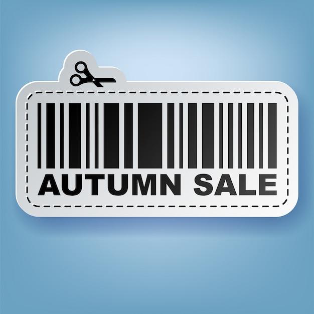 Etichetta di vendita adesivo con codice a barre e illustrazione di forbici