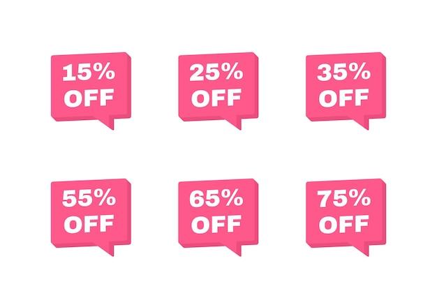 Distintivi di tag di vendita. sconto del 15, 25, 35, 55, 65 e 75 percento. modello di banner