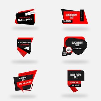 Vendita tag distintivi vendita di venerdì nero banner pubblicitario modello di volantino