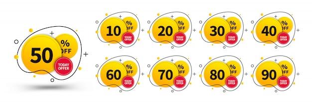 Set di tag di vendita. elementi di concept design da utilizzare in pubblicità, web, design di stampa e marketing. modello di badge alla moda, fino a 10, 20, 30, 40, 50, 60, 70, 80, 90 percento di sconto.