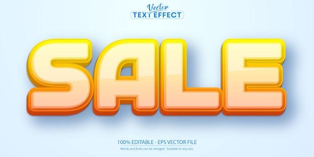 Testo di vendita, effetto di testo modificabile in stile cartone animato di colore sfumato arancione