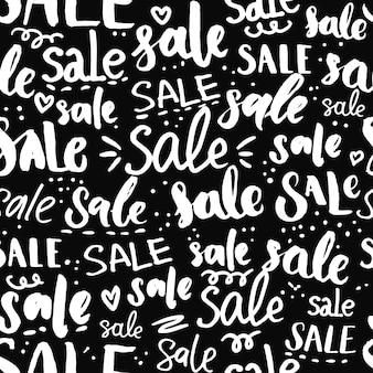 Parole disegnate a mano del modello di testo di vendita e struttura senza cuciture di calligrafia per promozioni e offerte speciali