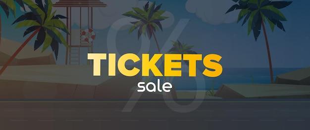 Vendita di biglietti banner. spiaggia di sabbia con palme.