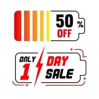 Banner di vendita con batterie silhouette