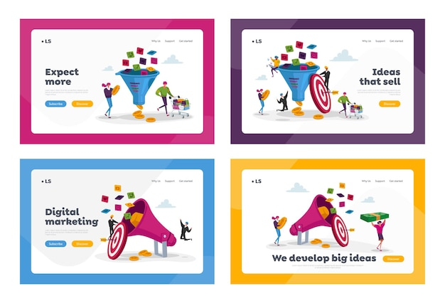 Set di pagine di destinazione marketing imbuto di vendita