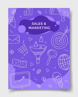 Concetto di vendita e marketing con stile doodle per modelli di banner, volantini, libri e copertine di riviste