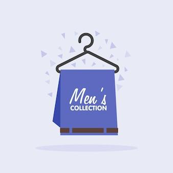 Le vendite della collezione di abbigliamento maschile immagine concettuale pantaloni su un appendiabiti che vendono abbigliamento da uomo