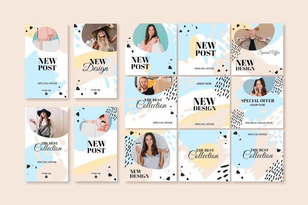 Nuovo modello di post instagram di vendita con modello femminile