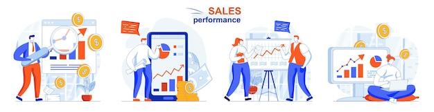 Set di concetti di performance di vendita analisi statistica dati analisi crescita del reddito