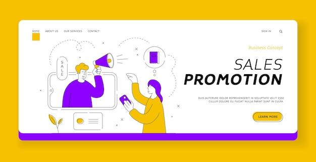 Modello di banner della pagina di destinazione della promozione delle vendite. il cliente femminile guarda la pubblicità con beni pubblicitari di manager maschio su smartphone durante la vendita nel negozio online. illustrazione di stile piatto