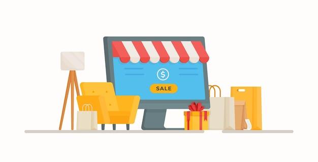 Vendite e lavoro a casa. illustrazione di un negozio online. acquisti online sicuri.