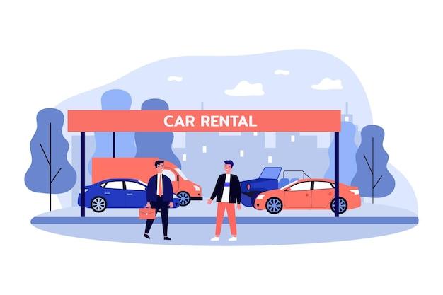 Venditore e cliente in piedi davanti a diverse auto. personaggio maschile che fa affare, vendendo l'illustrazione piana di vettore del veicolo. noleggio auto, concetto di viaggio per la progettazione di siti web o pagina web di destinazione