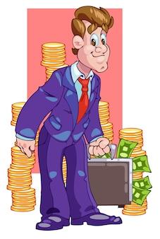 Il commesso ride e tiene in mano la valigia con le banconote in dollari colore piatto cartone animato pop art stile retrò