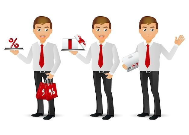 Venditore con pose diverse