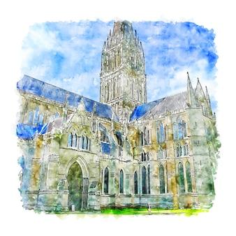 Illustrazione disegnata a mano di schizzo dell'acquerello della cattedrale di salisbury