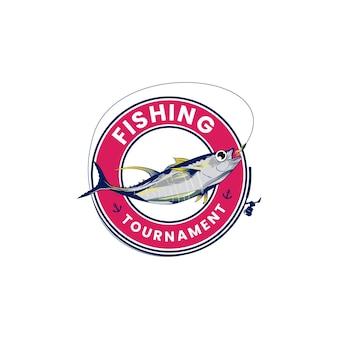 Pesce salmone logo design pesca logo design immagine vettoriale
