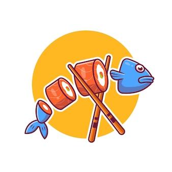 Sushi di pesce salmone con cartoon bacchette