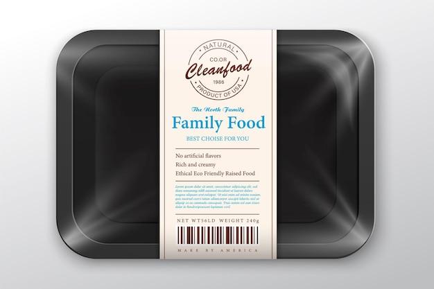 Illustrazione dell'imballaggio di salmone vassoio in schiuma bianca con mockup di film plastico etichetta di pesce in stile moderno