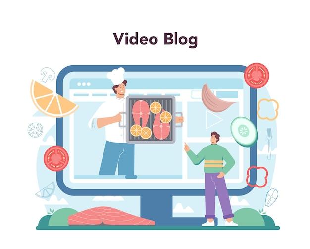 Servizio o piattaforma online di bistecca di salmone. chef di cucina bistecca di pesce alla griglia sul piatto con limone. filetto di pesce per cena. videoblog. illustrazione vettoriale piatta