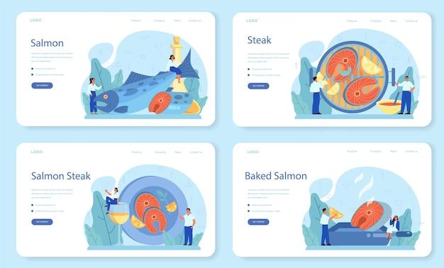 Banner web di bistecca di salmone o set di pagine di destinazione