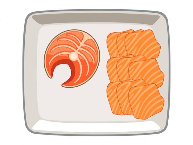 Vettore di salmone affettato e affettato in un piatto su uno sfondo bianco.