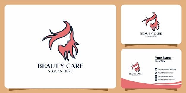 Logo minimalista di bellezza astratta del salone e logo del concetto di forma della silhouette e modello di biglietto da visita