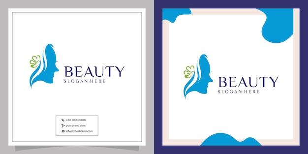 Design del logo per la cura del viso della ragazza del salone