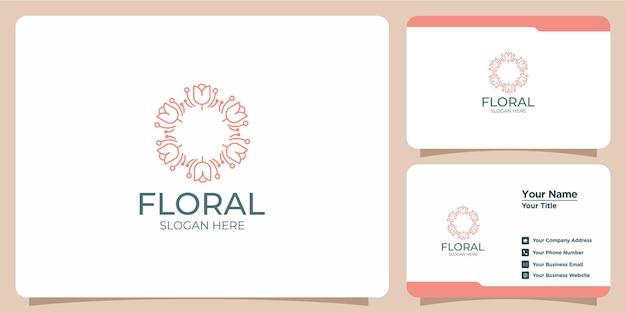 Logo del fiore di bellezza minimalista del salone e logo del concetto di forma della sagoma della spa e modello di biglietto da visita