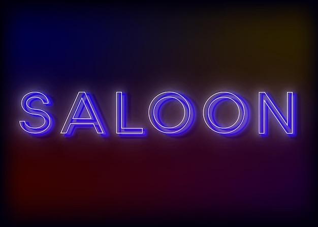 Design dell'insegna al neon del salone per la tua insegna luminosa aziendale che dice saloon