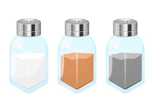 Sale e pepe disegno vettoriale illustrazione isolato su sfondo bianco