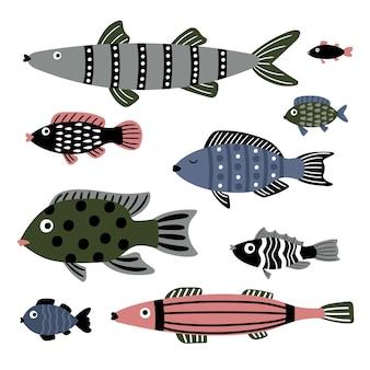 Pesci di mare. personaggi dei cartoni animati di mare, animali subacquei alla moda a colori, set di illustrazioni vettoriali di pesci marini isolati su sfondo bianco