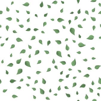 Modello samless con foglie verdi che cadono su bianco. vettore
