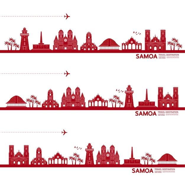 Grande illustrazione della destinazione di viaggio di samoa.