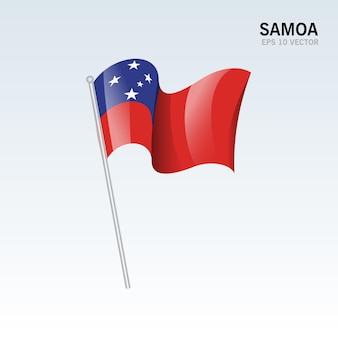 Samoa sventolando bandiera isolata su gray