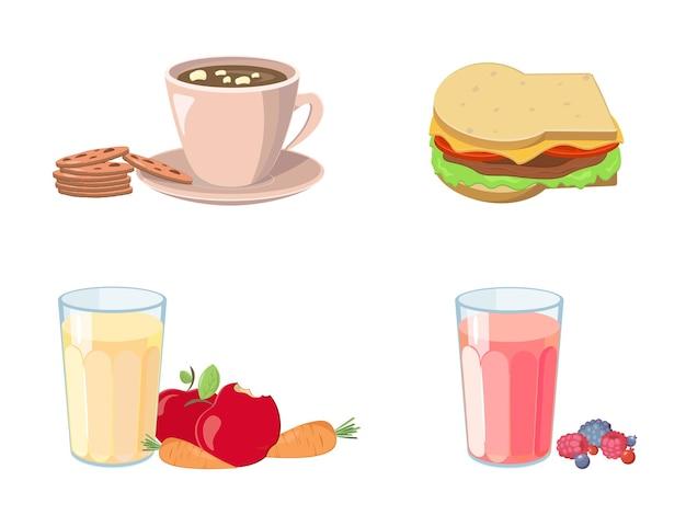 Assaggia il cibo a ogni pasto. raccolta di cartoni animati