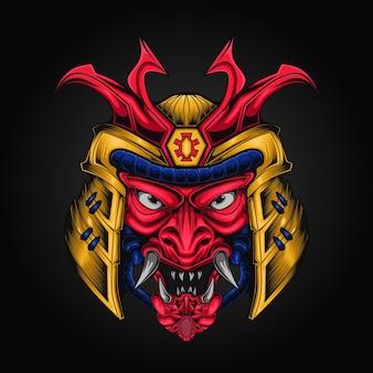 Illustrazione di vettore del casco della testa dell'armatura del samurai Vettore Premium