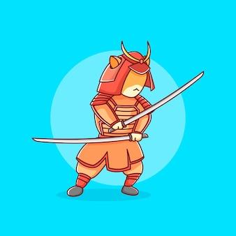 Gatto samurai in illustrazione design piatto