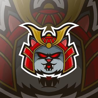 Logo esport mascotte gatto samurai