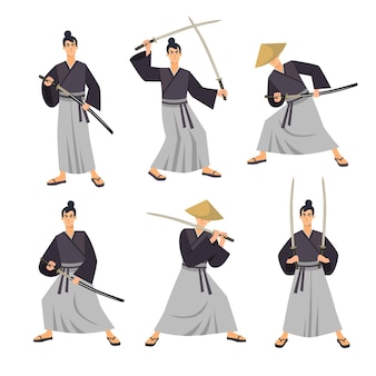 Set di illustrazioni dei personaggi dei samurai