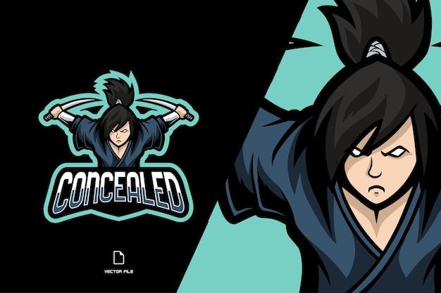 Illustrazione del logo della mascotte del personaggio del samurai