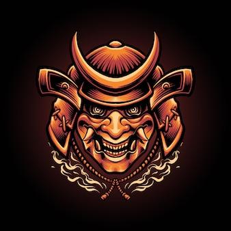 Illustrazione giapponese della maschera del diavolo del samurai