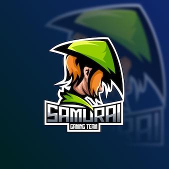 Illustrazione del logo del gioco di squadra di samurai esport