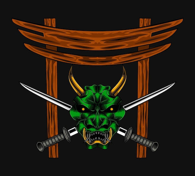 Illustrazione vettoriale di samurai diavolo malvagio