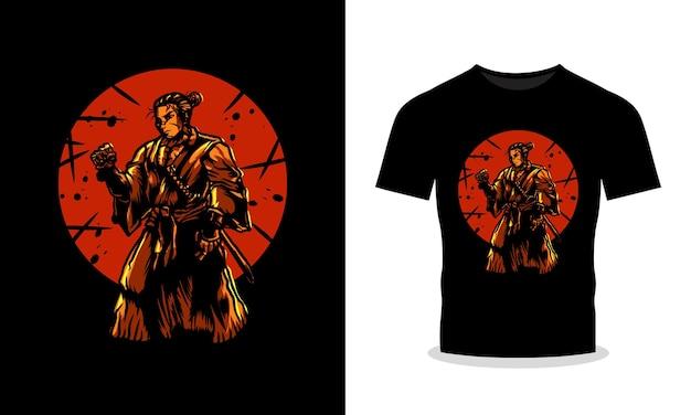 Illustrazione della maglietta di lotta dei samurai