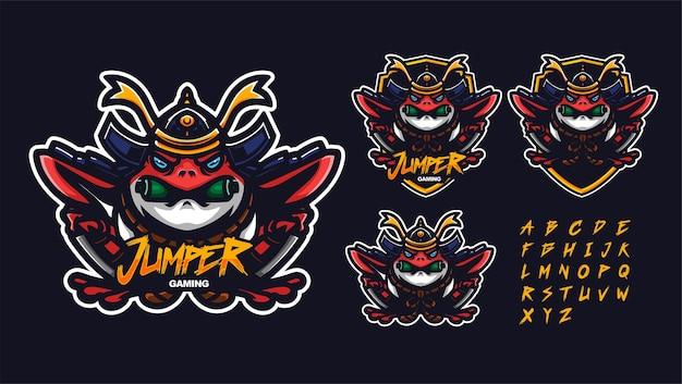 Modello di logo mascotte premium rana samurai