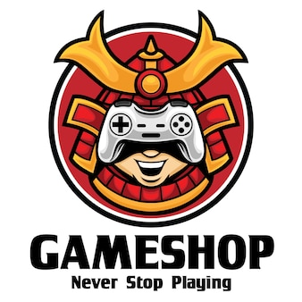 Samurai game shop logo mascotte modello