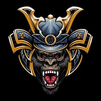 Disegno dell'illustrazione della testa di gorilla samurai