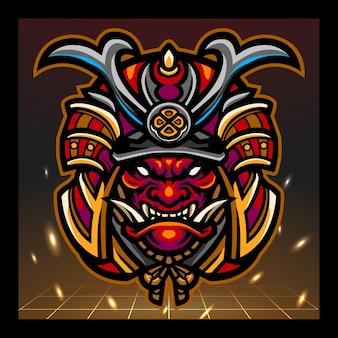 Disegno del logo esport della mascotte della testa di samurai