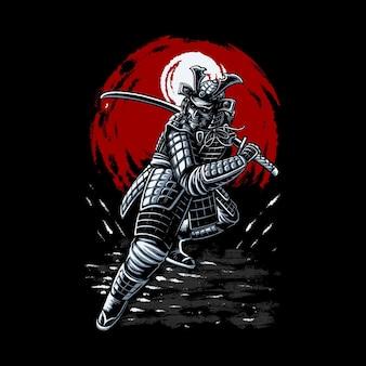 Disegno dell'illustrazione del guerriero della testa del samurai