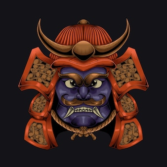 Illustrazione del carattere di stile antico dell'elmo del samurai